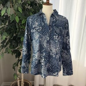 CHICO'S 1 Med Cotton Long Sleeve Blue Paisley D